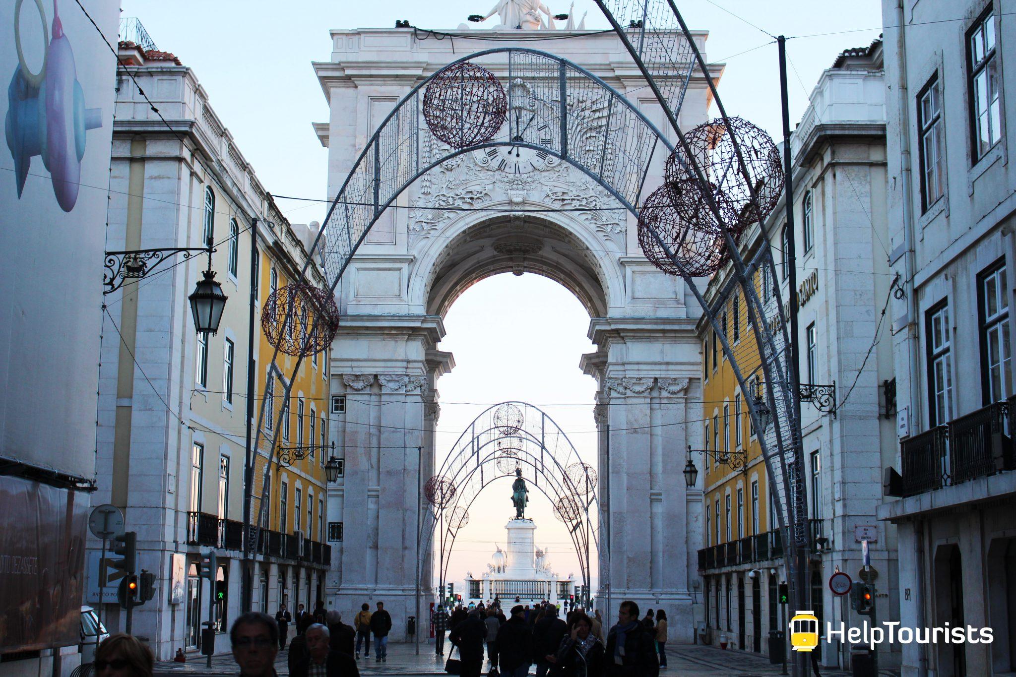 Lissabon Triumphbogen Weihnachten rua augusta