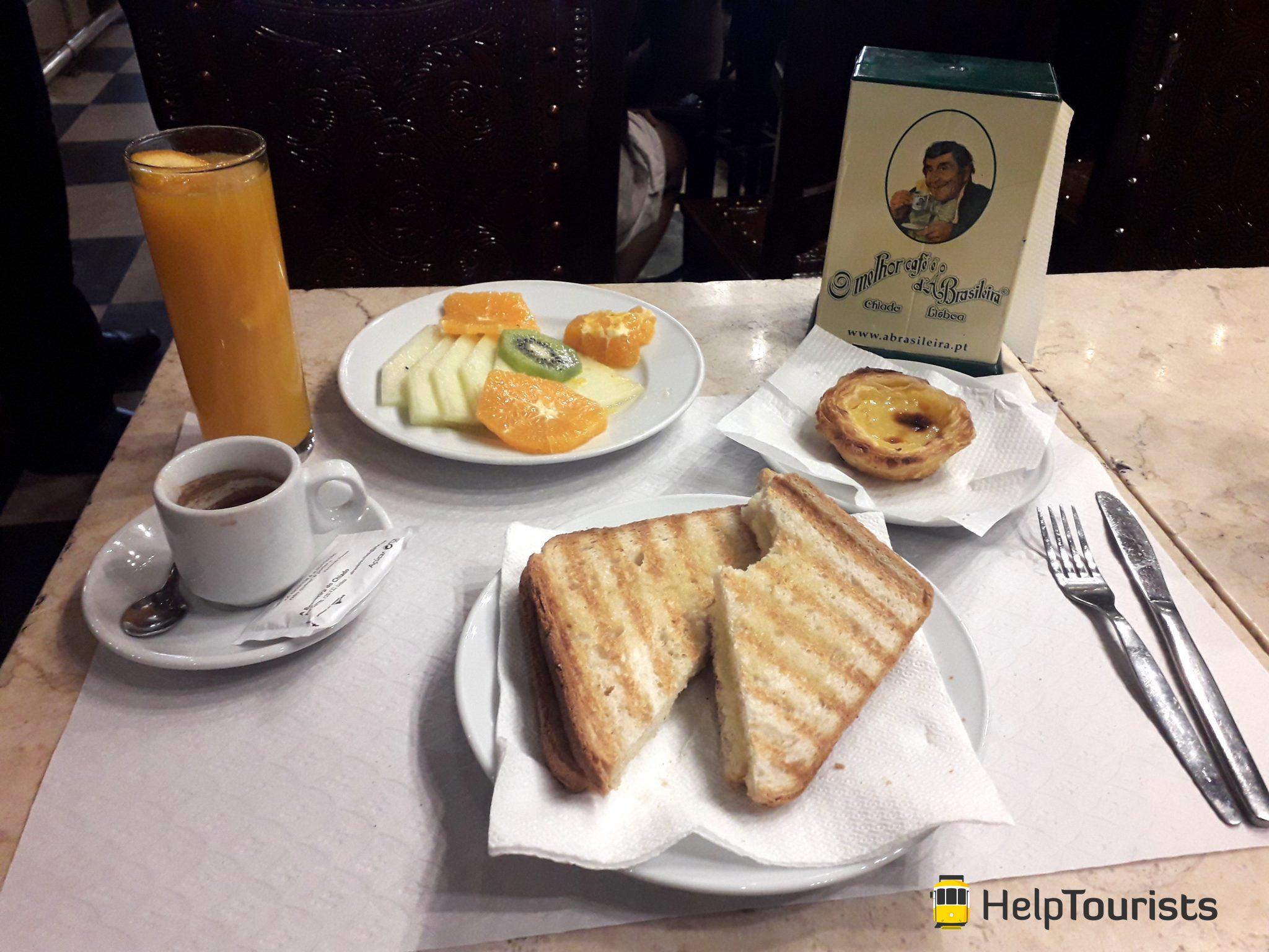 Lissabon Brasileira Frühstück