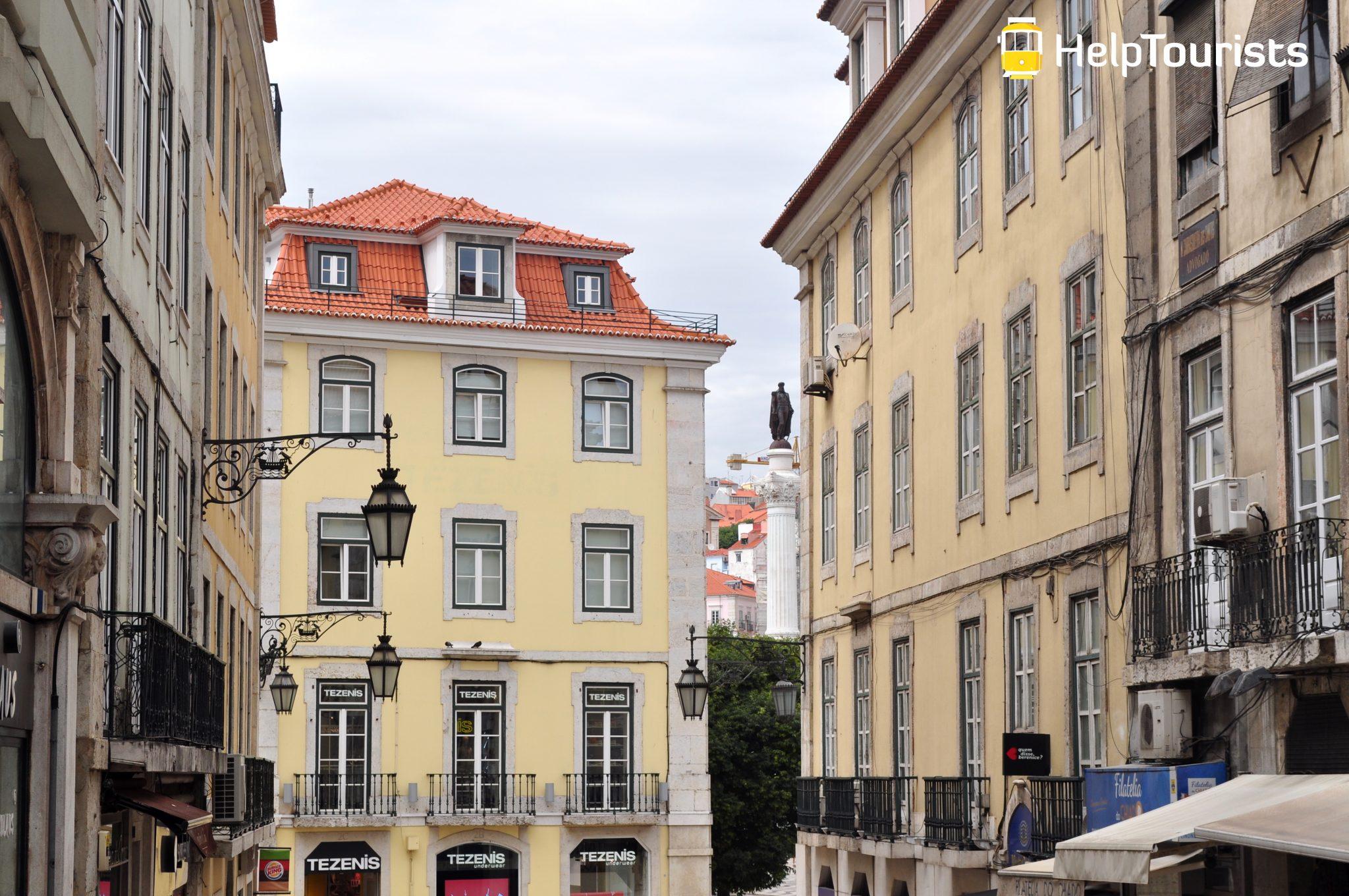 Lissabon Viertel Chiado Laternen
