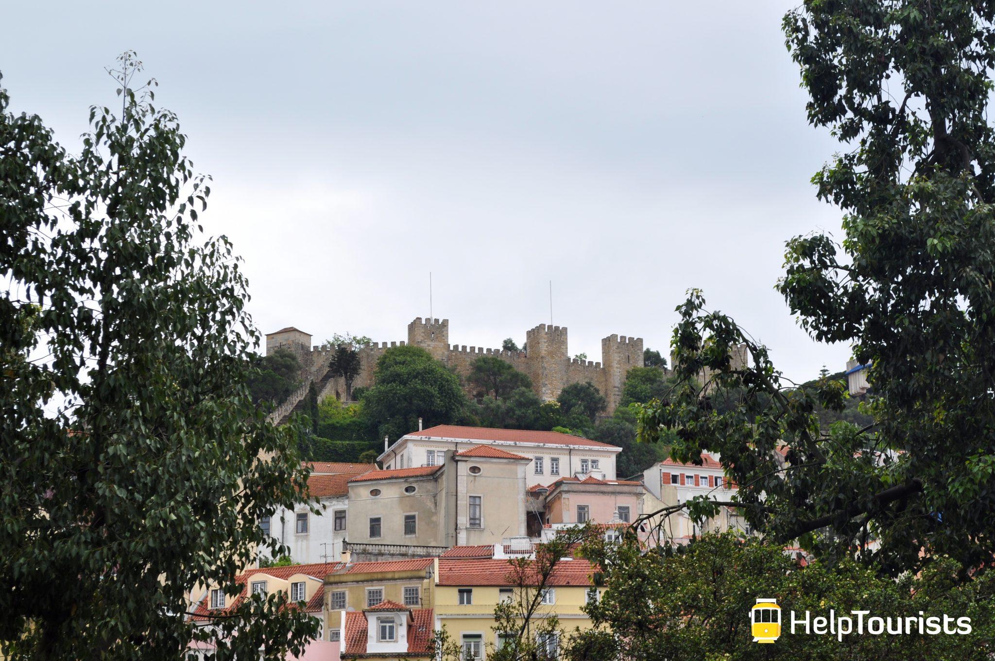 Lissabon Viertel Mouraria Aussicht Schloss