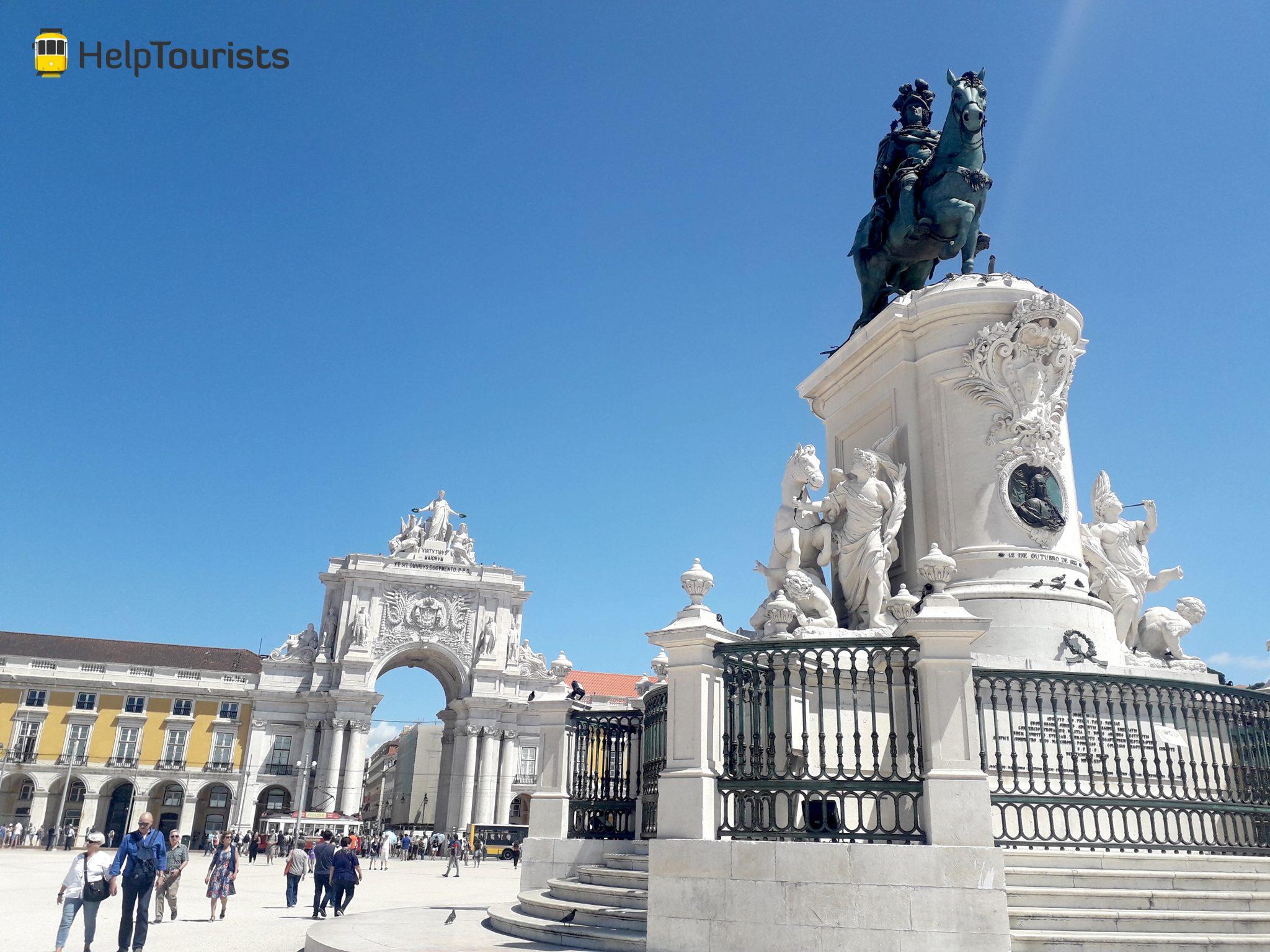 Lissabon Handelsplatz Statue