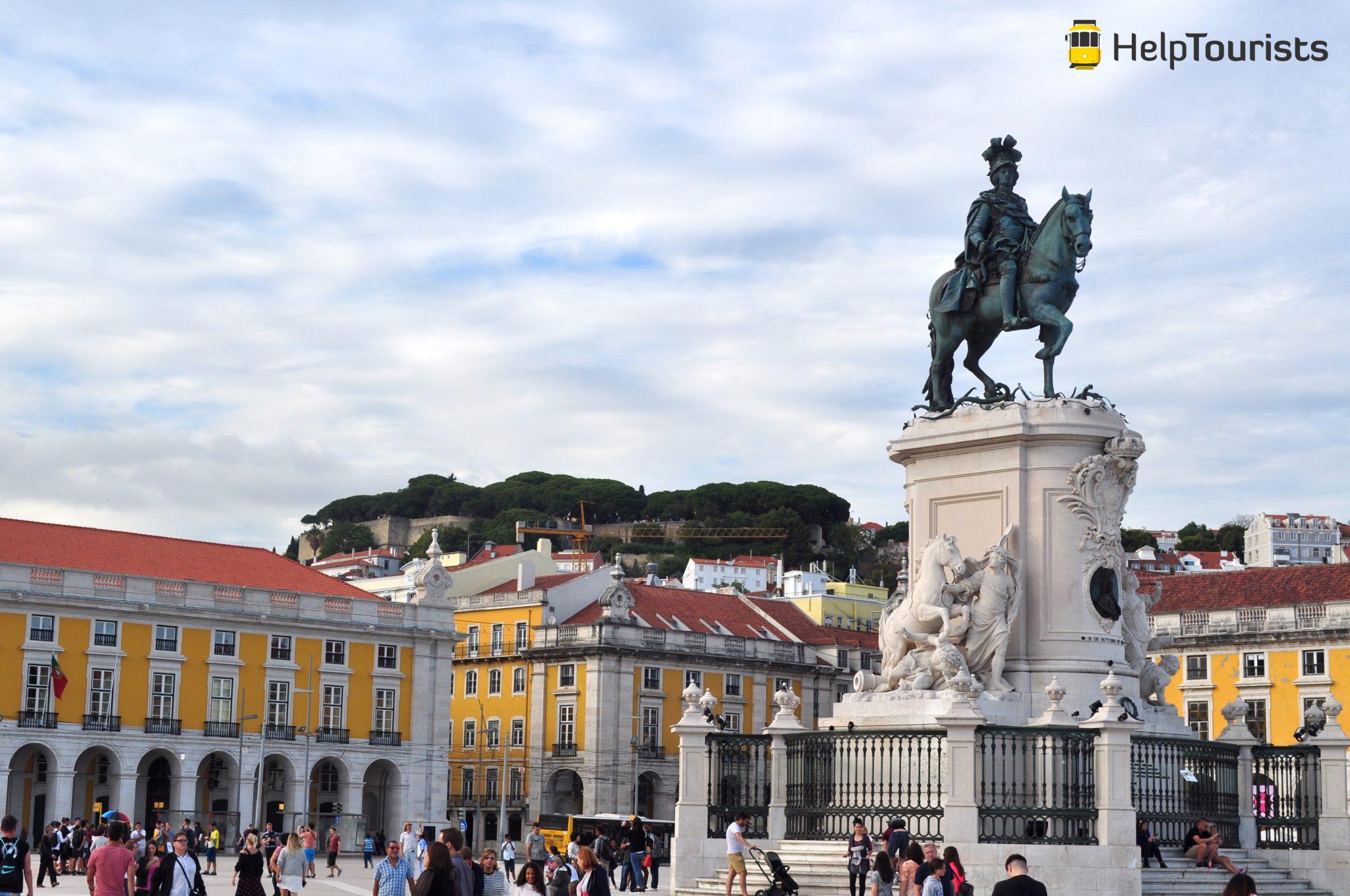 Lissabon Handelsplatz Häuser
