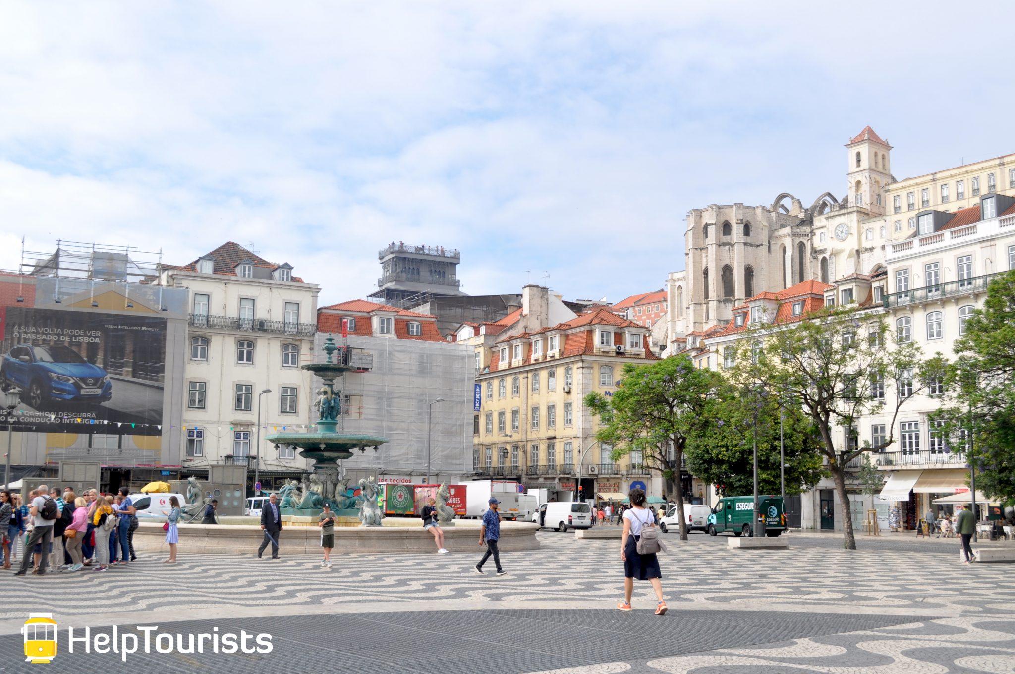 Lissabon Platz Rossio ganz