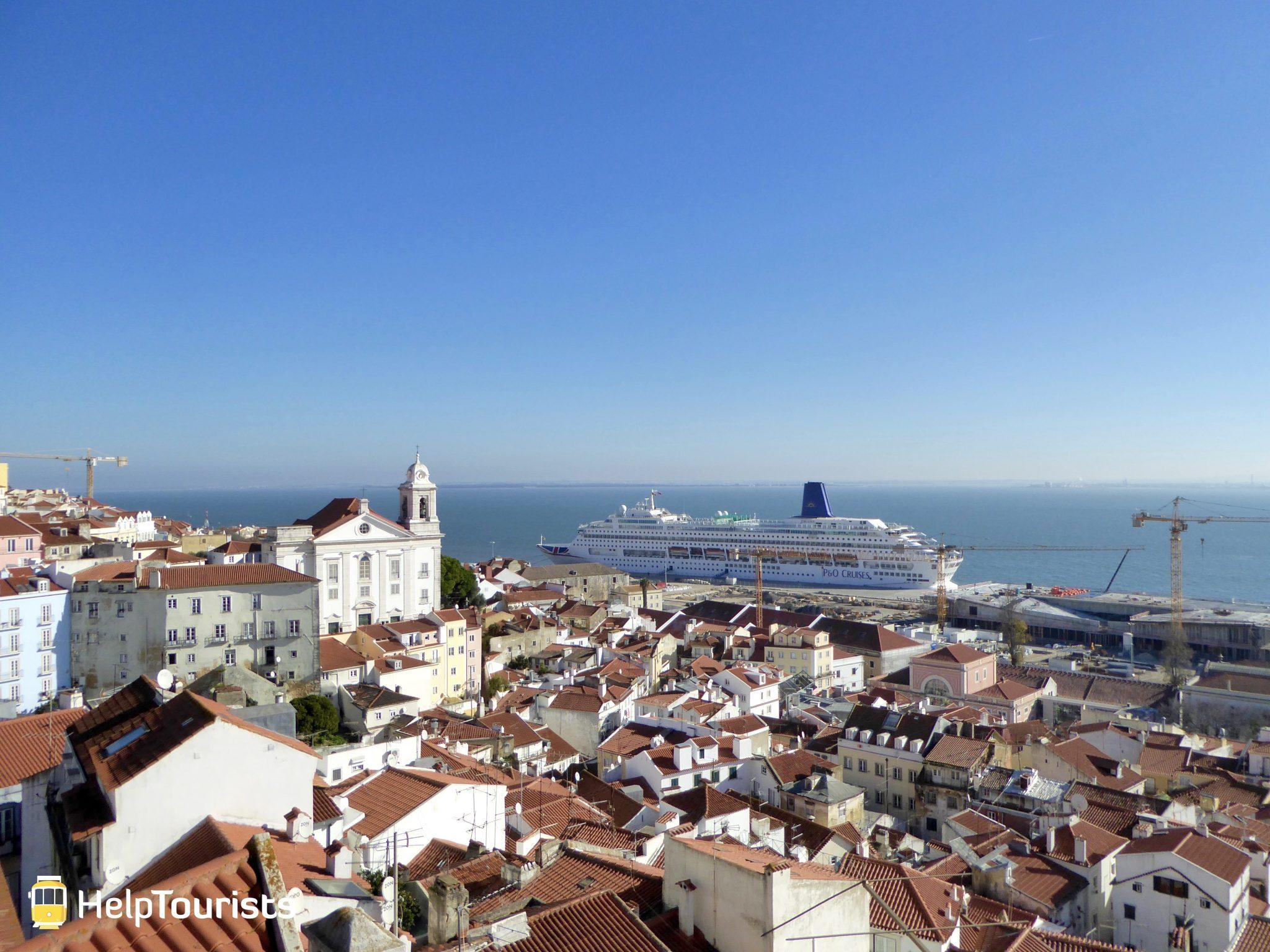 Lissabon Tejo Kreuzfahrtschiff Aussicht