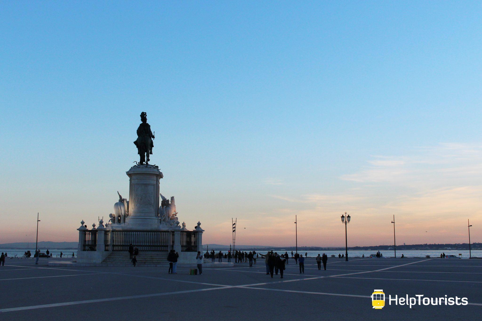Lissabon Handelsplatz Tejo Sonnenuntergang