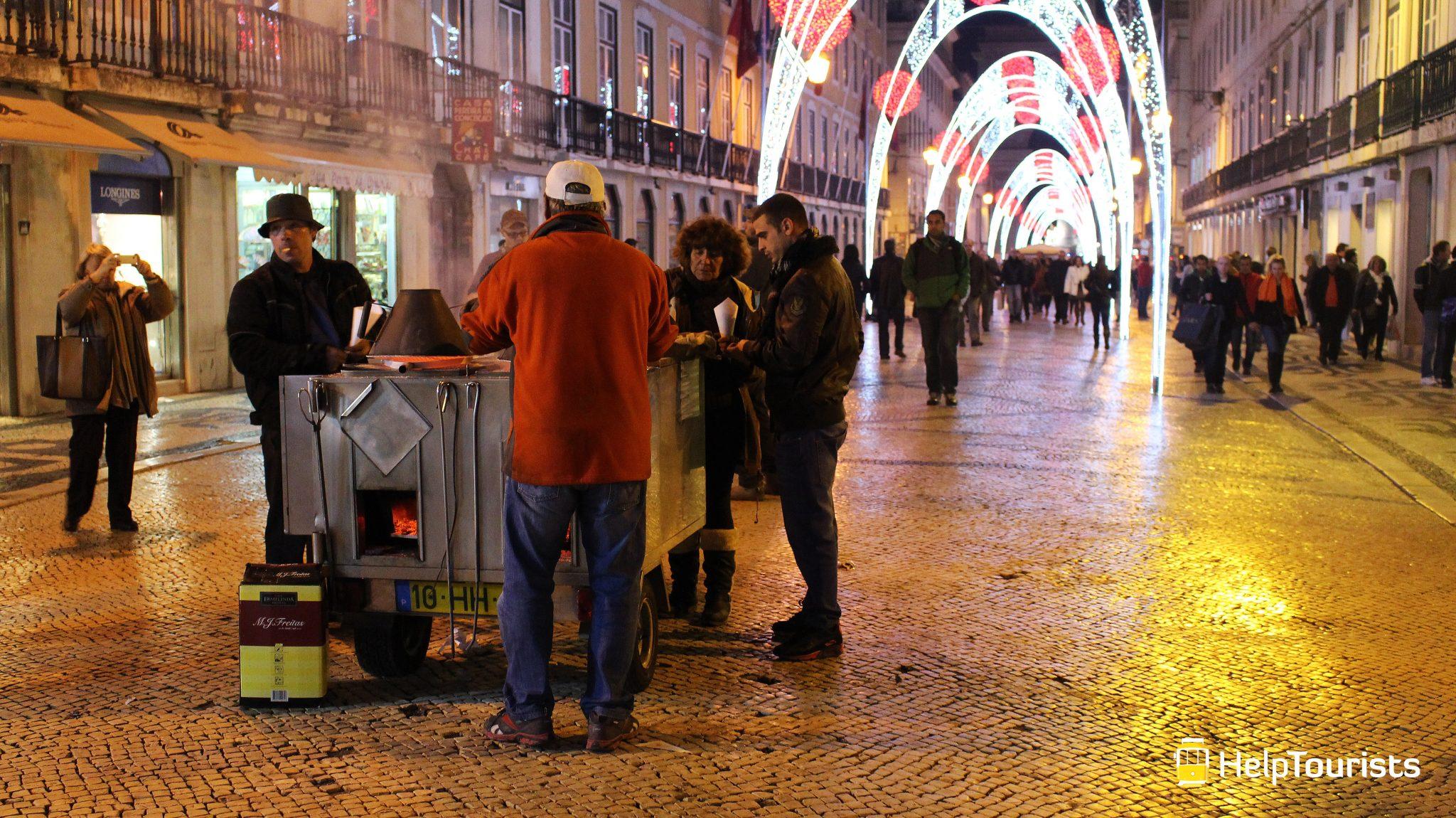 Lissabon Weihnachten Kastanien