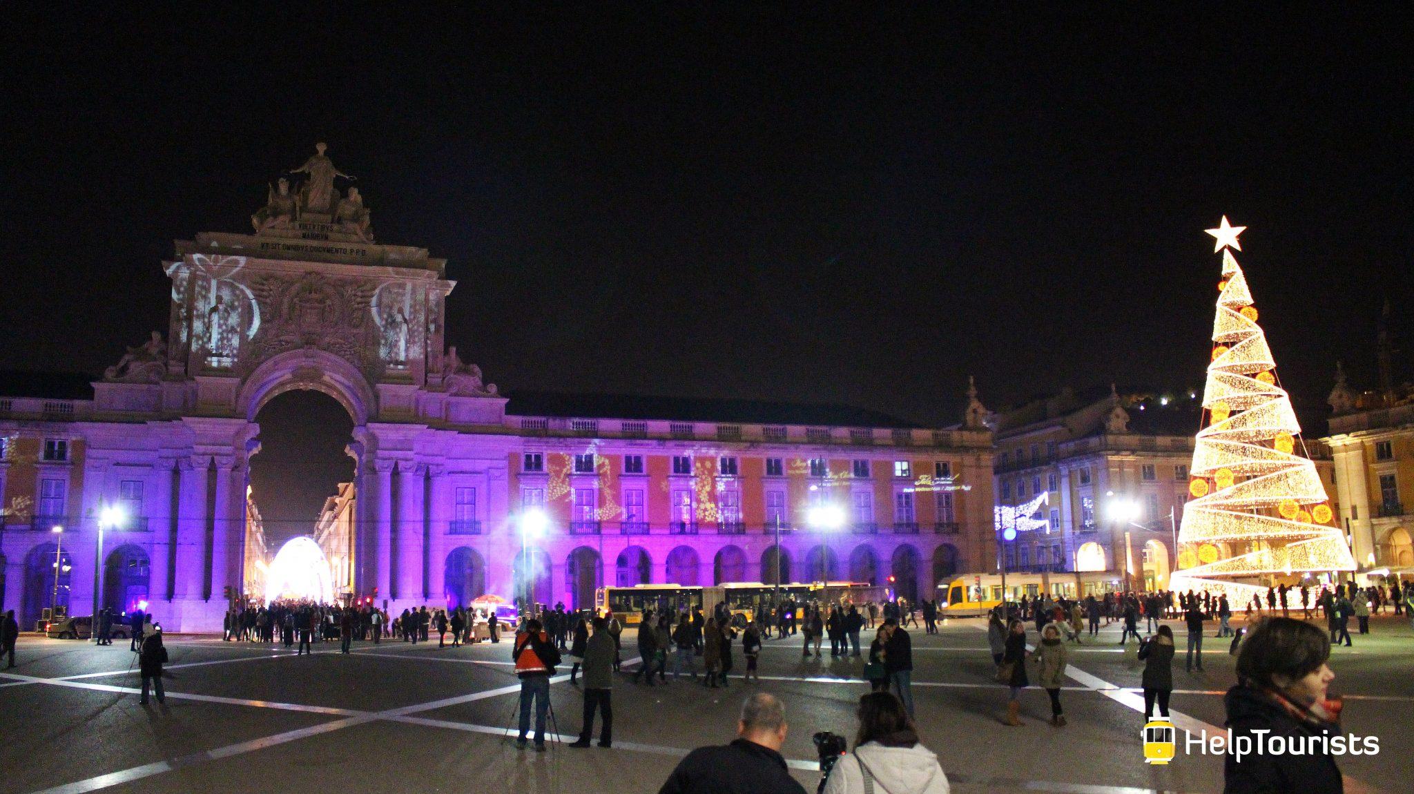 Lissabon Weihnachten Handelsplatz