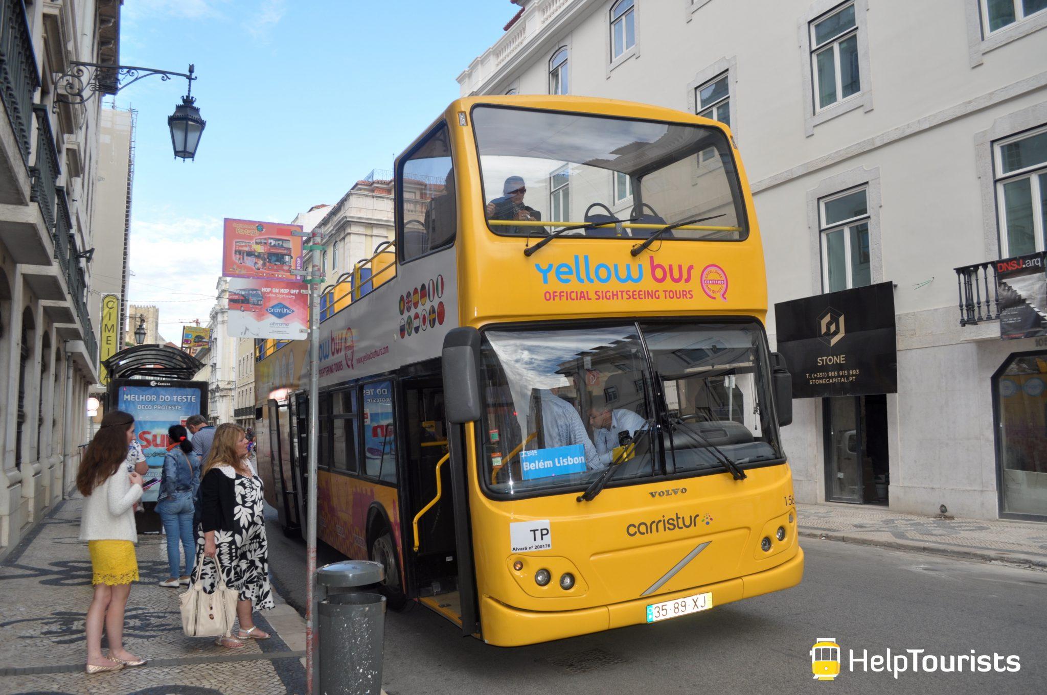 Lisbonne Yellow Bus arrêt