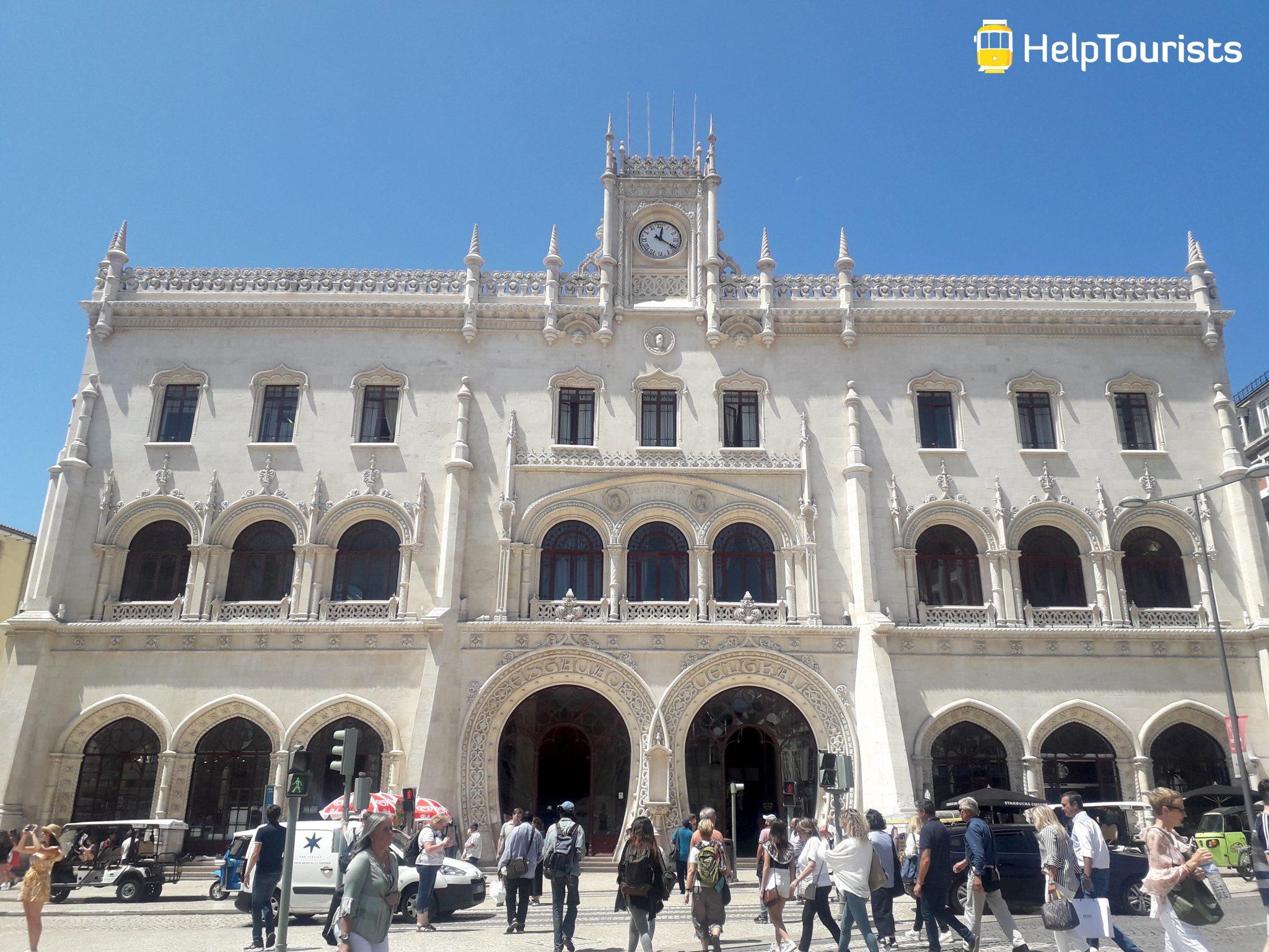 Lissabon Rossio Bahnhof Sommer