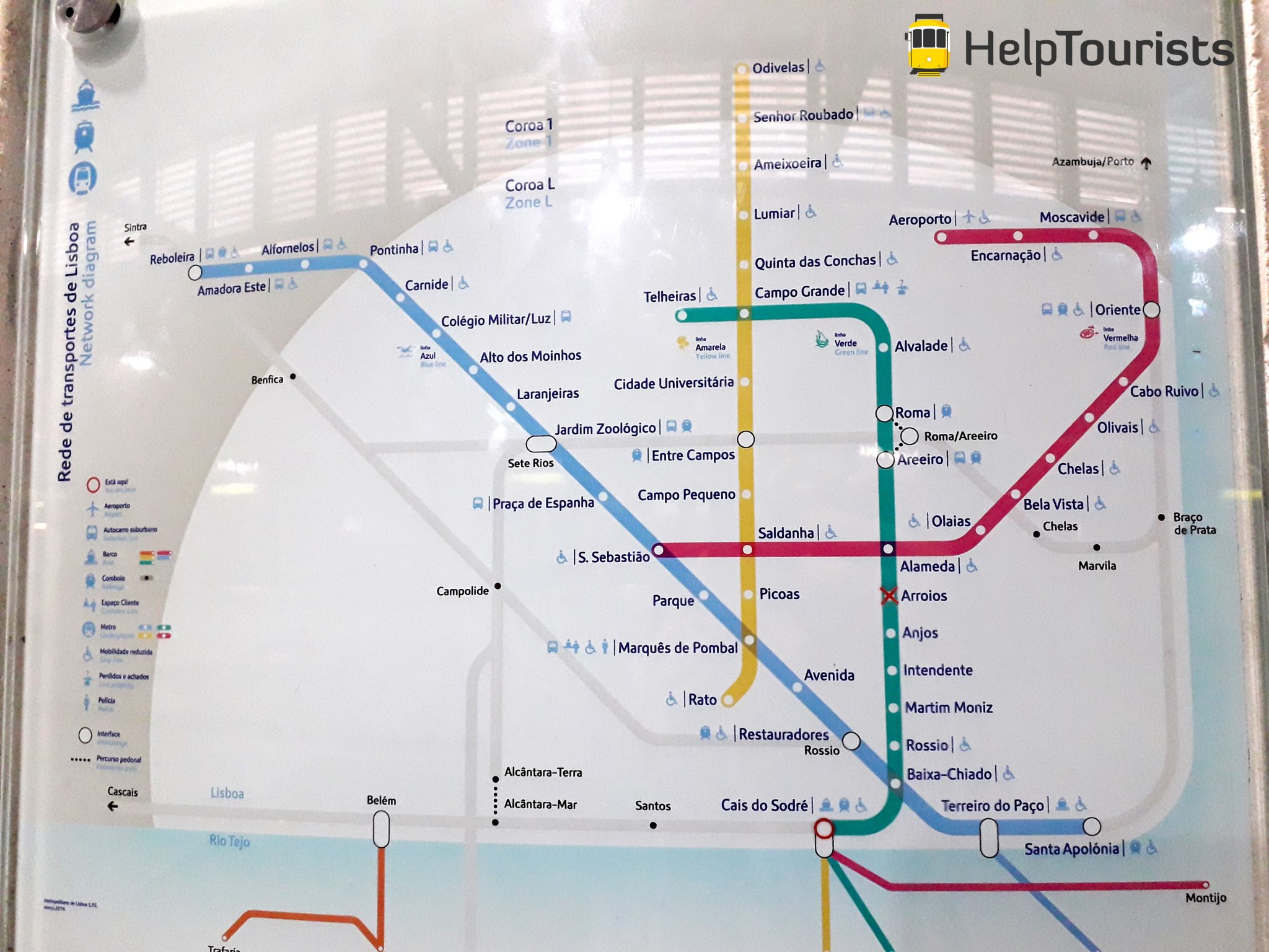 Lissabon U-Bahn Karte Übersicht