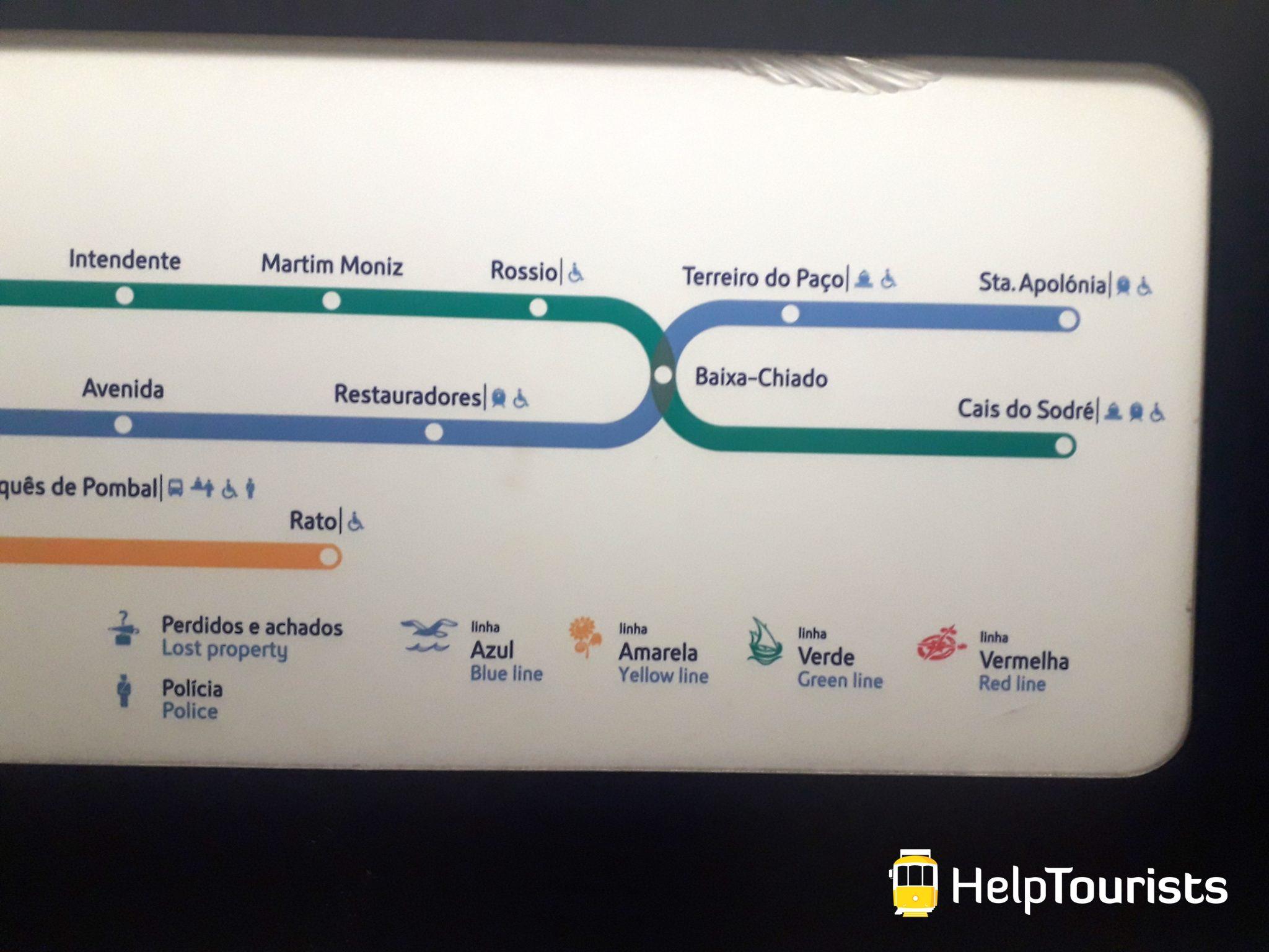 Lissabon U-Bahn Santa Apolonia Plan
