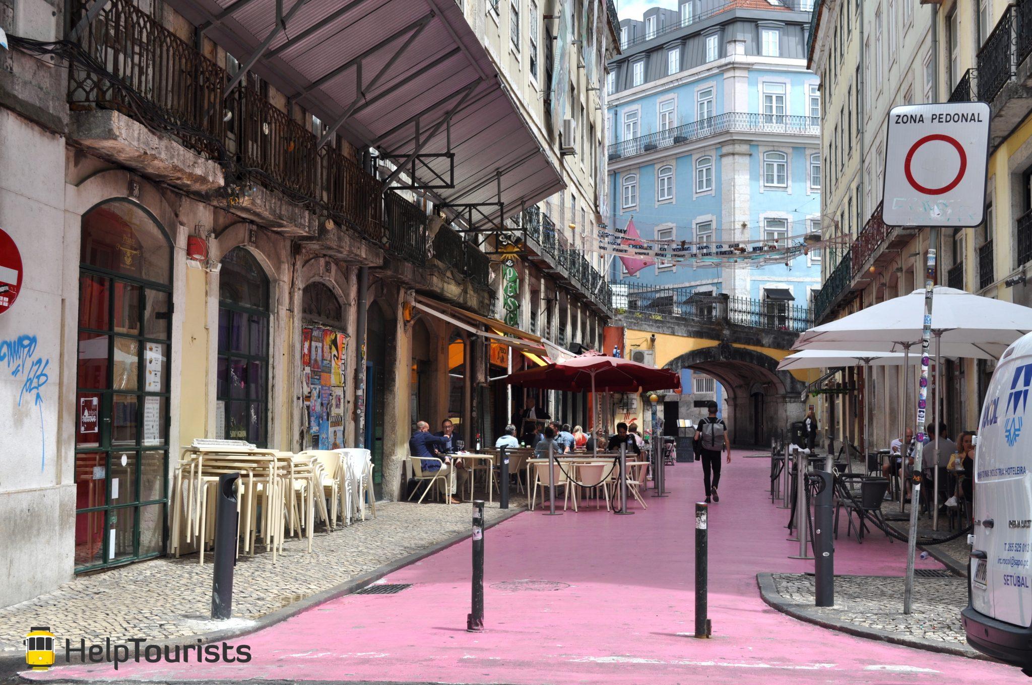 Lissabon rosa Straße I