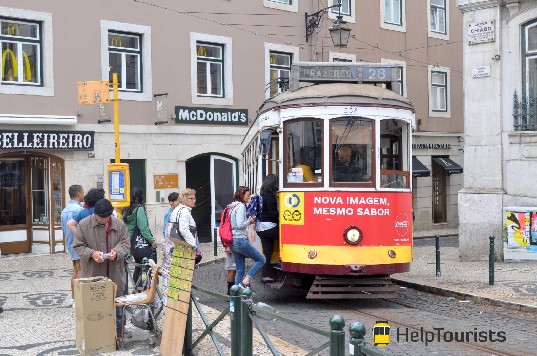 Lissabon Tram 28 Straße