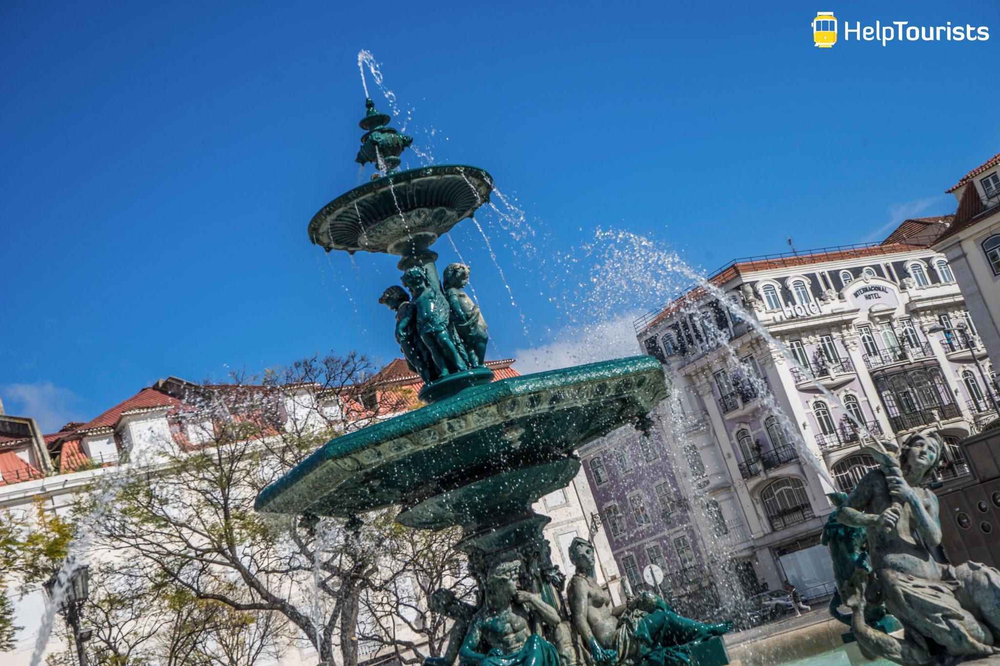 Lissabon_Praca-do-Rossio_Springbrunnen